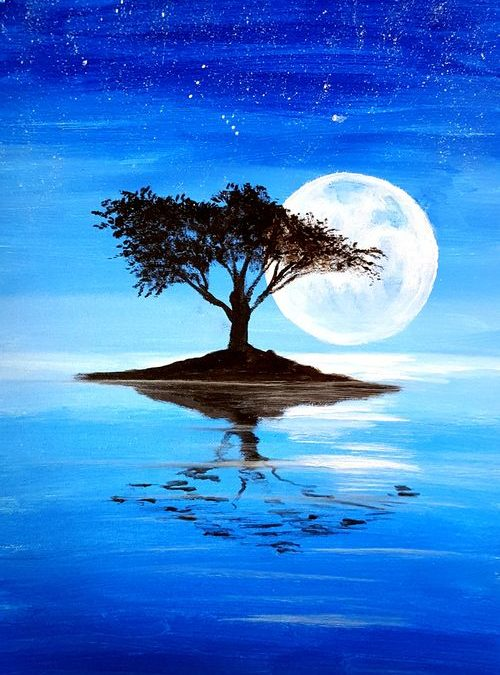 Paint Party: Lone Tree in Moonlight